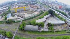 Industrial zone with railway near concrete plant Union-9 Stock Footage