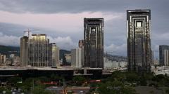 Oahu Honolulu high rise buildings with lights 4k Stock Footage