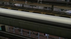 Textil machine in a factory Stock Footage