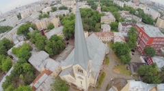 Urban sector with Evangelical Lutheran Cathedral Stock Footage