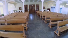 Aisle in main hall of Evangelical Lutheran Cathedral Stock Footage