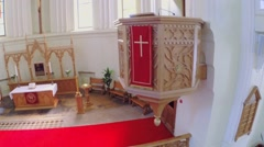 Altar and pulpit in hall of Evangelical Lutheran Cathedral Stock Footage