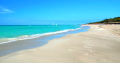 4K White Sand Beach Paradise, Light Blue Tropical Ocean Stock Footage