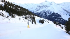 Ski Station on mount over Engelberg on the Swiss alps. Stock Footage