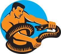 Stock Illustration of Man Fighting Boa Constrictor Snake Retro