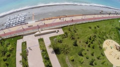 Hotel territory with sports and childish playgrounds near beach Stock Footage