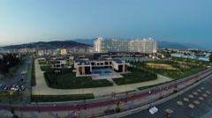 Hotel complex Radisson Blu near sea beach at summer Stock Footage
