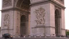 Paris, The Arc de Triomphe close-up Stock Footage