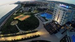 Townscape with hotel complex Radisson Blu near sea beach Stock Footage