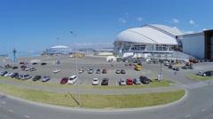 Parking near Fisht Olympic Stadium at summer sunny day Stock Footage