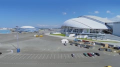 Olympic complex with stadium Fischt at summer sunny day. Stock Footage