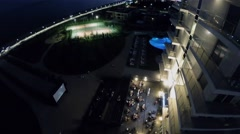 Hotel Radisson Blu with sports playgrounds and outdoor cinema Stock Footage