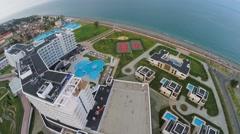 Hotel complex Radisson Blu on sea coast at summer evening. Stock Footage