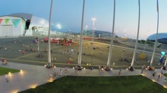 Panorama of Olympic complex with fountain on square Stock Footage