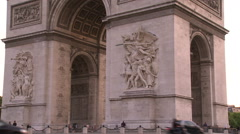 Paris, The Arc de Triomphe up-view Stock Footage