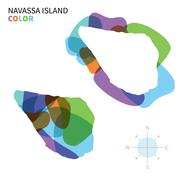 Abstract vector color map of Navassa Island with transparent paint effect. - stock illustration