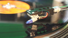 Record spinning with needle on the record Technic 1200 Stock Footage