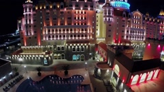 Pool near hotel Bogatyr with illumination at summer night Stock Footage