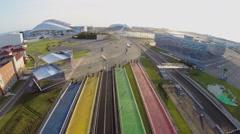 Olympic complex with pedestrian bridges near sports stadiums Stock Footage