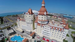 Coastal area with hotel Bogatyr and Olympic complex Stock Footage