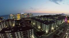 Town-hotel Barhatnye Sezony against hotel Radisson Blu Stock Footage