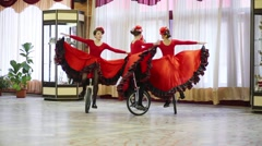 Girls on unicycle in hall of the Palace of Children and Youth Stock Footage