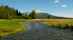 View of Mount Bachelor and Sparks Lake Stock Footage