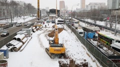 Car traffic and construction site Schelkovskoe highway. Stock Footage