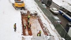 Workers repair Schelkovskoe highway in Moscow, Russia Stock Footage