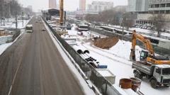 Repair equipment on Schelkovskoe highway in Moscow, Russia Stock Footage