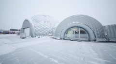 The buildings of center Heliport Moscow at winter. Stock Footage