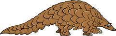 Stock Illustration of pangolin animal cartoon illustration