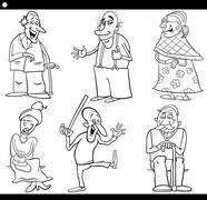 Seniors set cartoon coloring book Stock Illustration