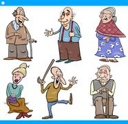 Stock Illustration of seniors people set cartoon illustration