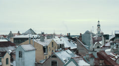 Old Town in Winter Aerial Rooftops With Snow - stock footage