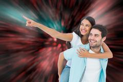 Composite image of happy casual man giving pretty girlfriend piggy back - stock illustration