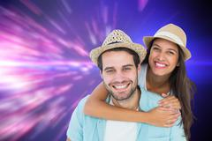 Stock Illustration of Composite image of happy casual man giving pretty girlfriend piggy back