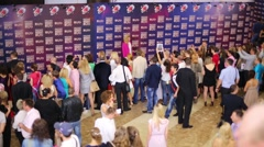 Fans shoot star on Red Carpet on Russian Music Award channel RUTV - stock footage