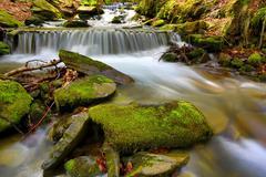 Nice cascade of mountain river Stock Photos