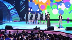 Diskoteka Avaria band on stage on Russian Music Award Stock Footage