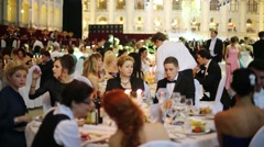 Stock Video Footage of People eat at 11th Viennese Ball in Gostiny Dvor