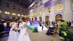 People near fountain at 11th Viennese Ball in Gostiny Dvor Stock Footage