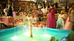 Illuminated fountain at 11th Viennese Ball in Gostiny Dvor Stock Footage