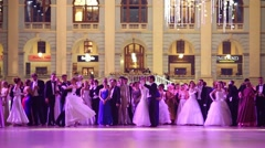 Pairs in beautiful dress at 11th Viennese Ball in Gostiny Dvor Stock Footage