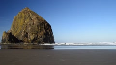 Haystack Rock, Cannon Beach, Oregon - stock footage