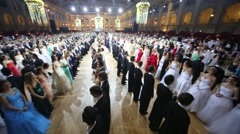 Rows of beautiful couples at 11th Viennese Ball Stock Footage