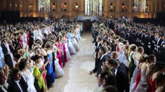 Rows of men and girls at 11th Viennese Ball in Gostiny Dvor - stock footage