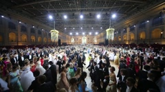 Many rows of dancing people at 11th Viennese Ball Stock Footage