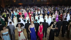 Rows of many dancing people at 11th Viennese Ball Stock Footage