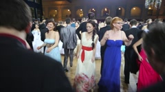 Happy dancing people at 11th Viennese Ball Stock Footage